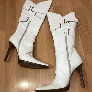 casadei white leather boots women size 9 Wooden so